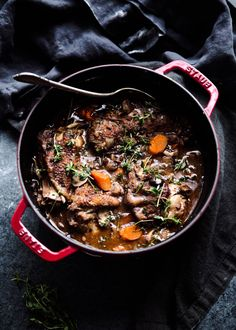 My absolute favorite comfort dish to make: Coq Au Vin with Cheesy Cauliflower Grits.
