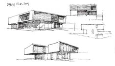 The characteristics of STEINMETZDEMEYER's projects are the scale and the connection to the site, as well as the extensive study of the details. Architecture Concept Drawings, Modern Architecture Design, Japanese Buildings, Museum Plan, Archi Design, Sketch Design, Beautiful Buildings, Villa, Design Projects