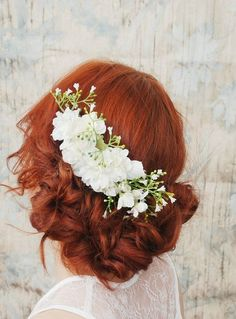 Wedding day hair w/ flowers and red