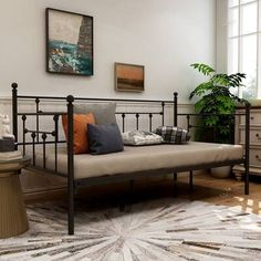 Willa Arlo Interiors Elof Twin Daybed & Reviews | Wayfair Metal Daybed, Metal Beds, Twin Daybed With Trundle, Headboard Designs, New Beds, Bed Sizes, Bed Frame, Bedroom Furniture, Storage Spaces