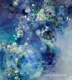 Blue watercolour painting by Yuko Nagayama Abstract Watercolor, Watercolour Painting, Watercolor Flowers, Art Floral, Art And Illustration, Watercolor Projects, Japanese Art, Painting Inspiration, Flower Art