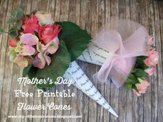 Mother's Day Free Printable Flower Cones - My Little Inspirations #thecreativefactory #handmademothersday2016