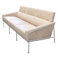 Arne Jacobsen 3300 Leather and Steel Sofa