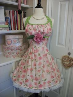 Butterfly Roses retro hand made apron by mimisneedle on Etsy