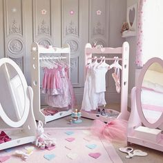 Dressing Up Rail - Sweetheart, White - Dress Up - Playrooms Baby Bedroom, Girls Bedroom, Bedroom Decor, Bedroom Ideas, Childrens Mirrors, Dress Up Storage, Clothes Storage, Kids Dress Up, Princess Room
