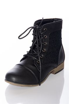 Granny Grunge Lace Up Crochet Combat Boots - Black from Boots at Lucky 21