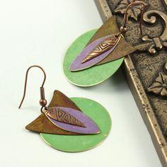 Boho Earrings Mint Green Lavender Brass by AbacusBeadCreations, $22.00