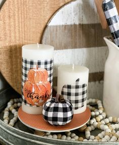 DIY candle upcycle with a printable! Diy Crafts How To Make, Diy Crafts For Home Decor, Fall Crafts, Farmhouse Style Decorating, Decorating On A Budget, Diy Candles, Pillar Candles, Pumpkin Printable, Fall Decor