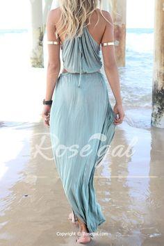 Bohemian Halter Neck Sleeveless Hollow Out High Furcal Women's Dress
