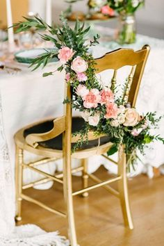 Southwestern Inspired Styled Shoot from Christina Bernales Photography Wedding Reception Chairs, Wedding Table, Wedding Gold, Decoration Evenementielle, Floral Chair, Wedding Chair Decorations, Wedding Flowers, Bouquet, Chair Sashes