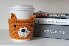 Fox, Crochet Fox, Reusable Coffee Sleeve. $5.00, via Etsy.