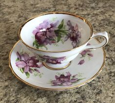 Grosvenor Orchid Bone China Teacup And Saucer | eBay