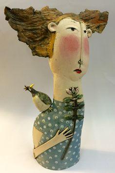 Slab Pottery, Ceramic Pottery, Ceramic Art, Ceramic Sculpture Figurative, Sculpture Clay, Bazaar Crafts, Bazaar Ideas, Guys And Dolls, Oil Painting Abstract