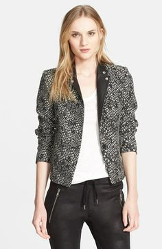 The Kooples 'Peau de Bête' Leather Trim Jacquard Jacket available at #Nordstrom