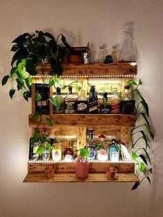 Diy Home Bar, Diy Bar, Bars For Home, Diy Home Decor, Room Decor, Diy Pallet Furniture, Diy Pallet Projects, Home Furniture, Pallet Ideas