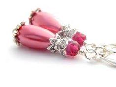 Hot Pink Earrings Pink Bridesmaid Earrings Hot Pink Wedding Jewelry