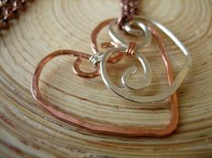 Different Together Necklace Loving Hearts Sterling Silver and Copper on Copper Brass Chain