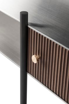 Contemporary Console with Brushed Steel, Bronzed Metal and Wood drawer For Sale at Metal Furniture, Unique Furniture, Furniture Decor, Furniture Design, Furniture Removal, Joinery Details, Modern Dining Room Tables, Aluminum Table, Wood Detail