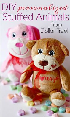 If you have little ones that love animals, DIY these adorable personalized stuffed animals from Dollar Tree for any holiday or occasion!