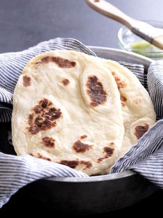 This gluten free naan bread is made extra soft and tender with yogurt, eggs and a bit of butter or ghee in the dough. Make the dough ahead of time, and then fry it up in a pan in minutes! Gluten Free Diet Plan, Gluten Free Wraps, Gluten Free Baking, Dairy Free Recipes, Vegan Gluten Free, Baking Recipes, Naan Sans Gluten, Sin Gluten, Foods With Gluten