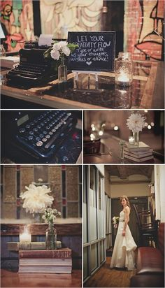 "bookloverswedding: "" Fall or winter library themed wedding. Simple. LOVE the typewriter. """