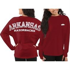 Women's Arkansas Razorbacks Red Aztec Sweeper Long Sleeve Oversized Top