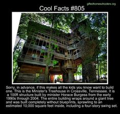 Cool facts #805  http://www.thisiscolossal.com/2012/06/the-ministers-treehouse-a-100ft-tall-church-built-over-11-years-without-blueprints/