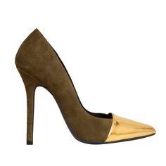 Stiletto Berta ante kaki y punta espejo oro MAS34 http://www.mas34shop.com/tienda/berta-punta-oro/