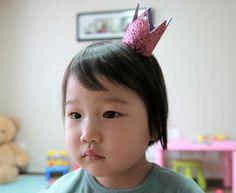 Birthday Crown Pink Glitter Felt Crown Headband mini by AnnaandSam, $5.90