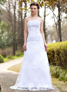 Wedding Dresses - $176.99 - A-Line/Princess Strapless Sweep Train Satin Lace Wedding Dress With Ruffle (002000127) http://jjshouse.com/A-Line-Princess-Strapless-Sweep-Train-Satin-Lace-Wedding-Dress-With-Ruffle-002000127-g127?ver=0wdkv5eh
