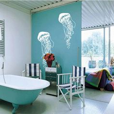 Great for the kids bathroom..  Jellyfish Vinyl Wall Art Decal by 7decals on Etsy, $24.99