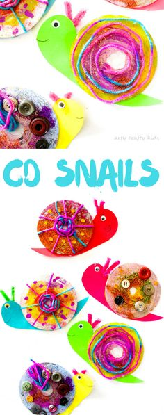 Recycled CD Snail craft for Kids. Super easy, super cute and perfect for preschoolers! #minibeasts #easycraftsforkids #kidscrafts #craftsideasforkids #craftykids #artycraftykids