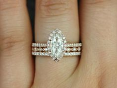 Sasha & Ultra Petite Bead Eye 14kt Marquise FB Moissanite and Diamonds Halo TRIO Wedding Set (Other Center Stone Available Upon Request)