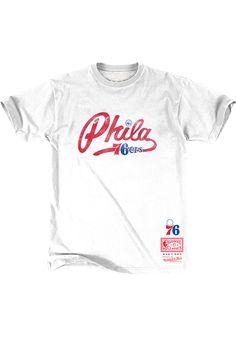 19f7e7234 Mitchell and Ness Philadelphia 76ers White Script Short Sleeve Fashion T  Shirt