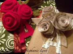 DIY rolled flower gift toppers by Under The Table and Dreaming - Stephanie Lynn.