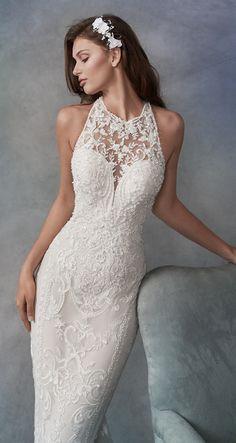 Changuan Women's Lace Wedding Dress Mermaid Bridal Gown with Train - Ideal Wedding Ideas Pretty Wedding Dresses, Amazing Wedding Dress, Designer Wedding Dresses, Bridal Dresses, Elegant Dresses, Dresses Dresses, Summer Dresses, Formal Dresses, Blue Dresses