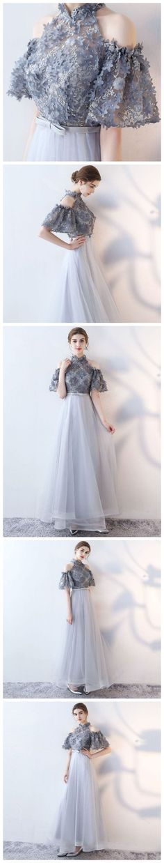 CHIC A-LINE HIGH NECK TULLE APPLIQUE MODEST LONG PROM DRESS EVENING DRESS,HS142 #promdresses #fashion #shopping #prom #dresses #eveningdresses