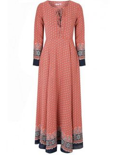 Same dress that Kate Middleton wore in Delhi - April 2016 - Red Navy Border Print Lace Up Maxi Dress