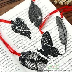 Goedkope 5 ontwerpen/nieuwe hollow zwart serie metalen bladwijzer/diy multifunctionele boek marks/grappige gift/groothandel, koop Kwaliteit bladwijzer rechtstreeks van Leveranciers van China: Beschrijving:Grootte: # 1 veer: 24*80mm;# 2 bloem: 35*62mm;# 3 blad: 30*75mm;# 4 kooi: 37*60mm;# 5 vlinder: 43*65m
