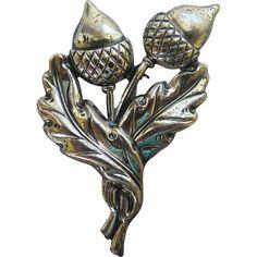 1940's Acorn Oak Leaves Sterling Silver Brooch
