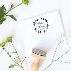 TBP127 Tampon Mariage couronne de fleurs tampon Personnalisable BLOOMINI STUDIO