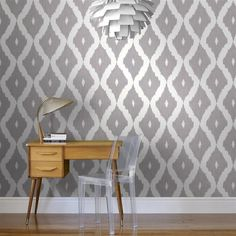 Kelly's Ikat Wallpaper in White and Soft Grey design by Kelly Hoppen for Graham & Brown | BURKE DECOR