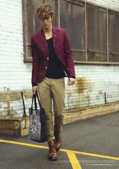 Fiasco Magazine - House on Fire, Ryan Taylor, Male Model, mens fashion, blazer, boots, maroon