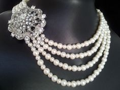 Emily Swarovski crystal multiple strand pearl necklace
