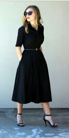 Black dress office chic look