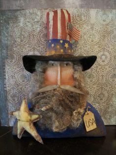 Primitive Uncle Sam Shelf Sitter Rusty Doll W/ Star 13 X 9 In. Stitchedface