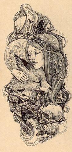 Moon+fox+girl ~possible tattoo idea? Ink Art,pretty in ink,Tattoos, Mädchen Tattoo, Tatoo Art, Tattoo Drawings, Art Drawings, Tattoo Wolf, Tattoo Thigh, Elven Tattoo, Gypsy Tattoo Sleeve, Nature Tattoo Sleeve Women