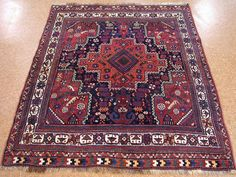 5 x 6 ANTIQUE PERSIAN QASHQAI Tribal Hand Knotted Wool NAVY IVORY Oriental Rug #AntiquePersianQashqaiTraditionalTribal