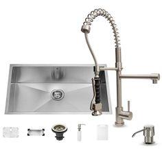 "Vigo VG15067 32"" Single Basin Undermount Kitchen Sink with VG02007 Chrome Finish Stainless Steel Fixture Kitchen Sink Combination"