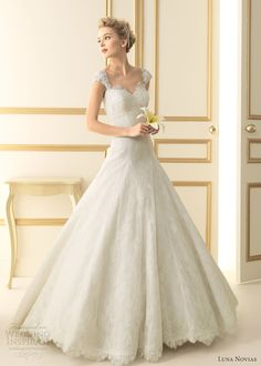 luna novias 2013 texas wedding dress lace cap sleeves straps